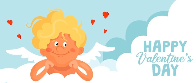 Cute funny cupid lies on a cloud. happy valentine's day cartoon banner or card