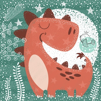 Cute funny dino - textured illustration