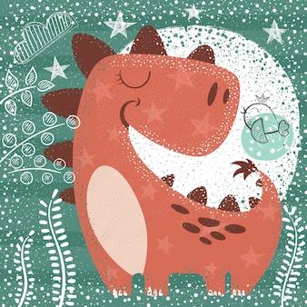 Милый смешной динозавр - текстурированная иллюстрация