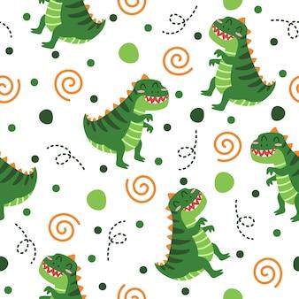 かわいい面白い恐竜パターンイラストデザイン