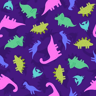 Cute and funny dinosaurs seamless pattern illustration