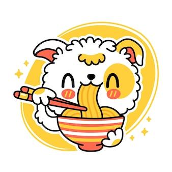 かわいい面白い犬はボウルから麺を食べます。