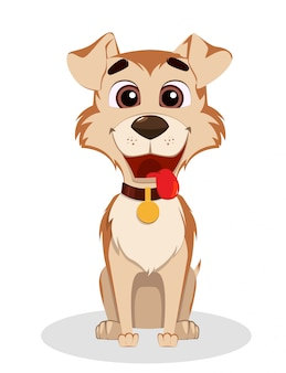 Cute funny dog. puppy cartoon character.