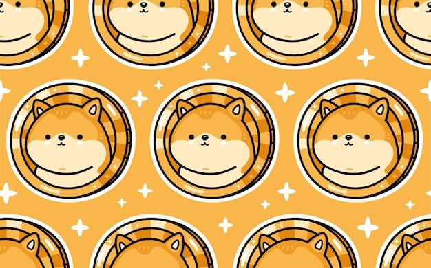 Симпатичный забавный персонаж dogecoin бесшовный фон