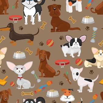 Illustrazione senza cuciture del modello dei cani divertenti svegli. cane animale del fumetto, sfondo con cucciolo di animali domestici e cani Vettore gratuito