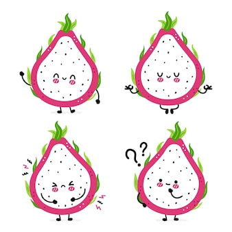 Cute funny dragon fruit set collection