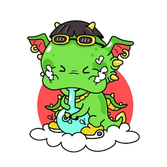 Cute funny dragon smoke weed with bong Premium Vector