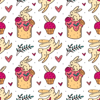 Cute funny easter rabbits, easter cakes, muffins, herbs and hearts cute doodle hand drawn seamless pattern