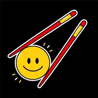 Симпатичные смешные смайлики улыбающееся лицо в азиатских палочках для еды. векторная линия каракули мультяшного персонажа каваи значок иллюстрации. желтый круг смайликов в китайских палочках для еды.