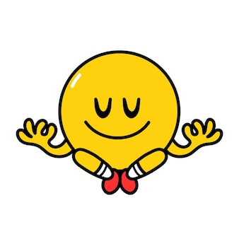 Cute funny emoji smile face meditate in yoga pose. vector flat line doodle cartoon kawaii character illustration icon. isolated on white background. yellow emoji circle character concept