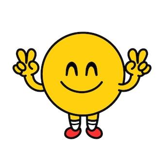 Коллекция наборов милых смешных смайликов. вектор плоская линия каракули мультяшныйа каваи символ иллюстрации значок. изолированные на белом фоне. концепция символа круга желтых эмодзи