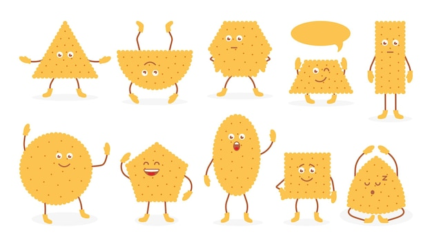 Cute funny emoji wheat biscuit icons set doodle breakfast snack cracker in flat cartoon style tasty food cookies with eyes and hands pastry cracker for poster isolated on white vector illustration
