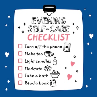 Cute funny evening self-care to do list, checklist