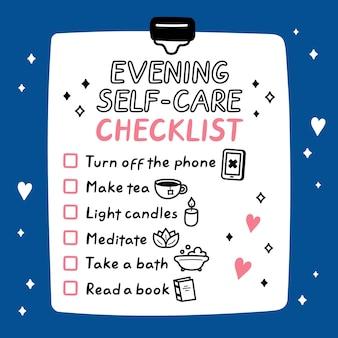 Симпатичный веселый вечерний список дел по уходу за собой, контрольный список