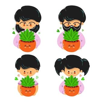 귀여운 재미있는 가족이 실내 식물을 손에 들고 있습니다.