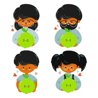 Cute funny family hold lime in hand