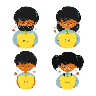 Cute funny family hold yellow bell pepper in hand