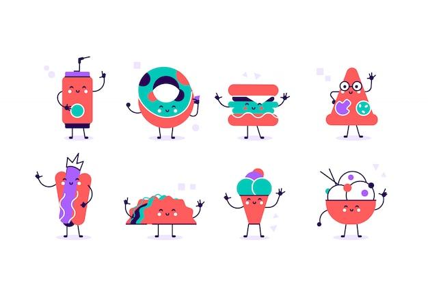 かわいい面白い食べ物や飲み物の文字セット、親友、面白いファーストフードメニューベクトルイラスト。フラットのベクトル図