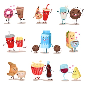 Cute funny food and drink characters set, best friends, funny fast food menu   illustrations