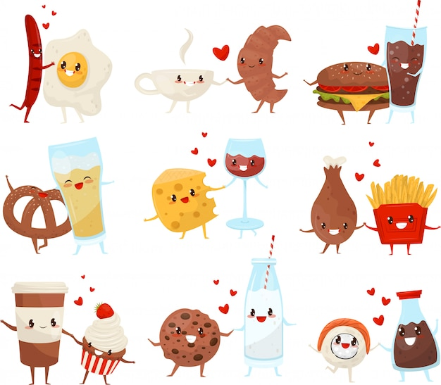 Cute funny food and drinks cartoon characters set, forever friends, fast food menu  illustration on a white background