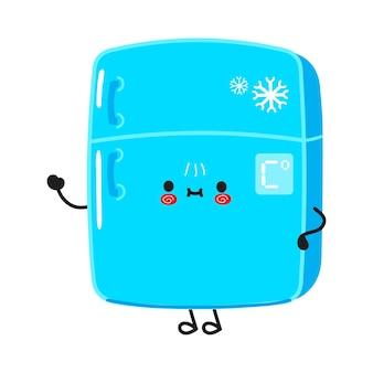 手のキャラクターを振ってかわいい面白い冷蔵庫
