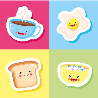 Cute and funny fried egg coffee bread and cereal smiling