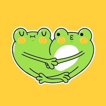 Cute funny frogs couple hugs