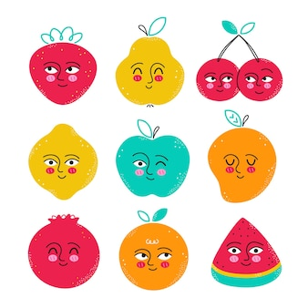 귀여운 재미있는 과일 문자 집합