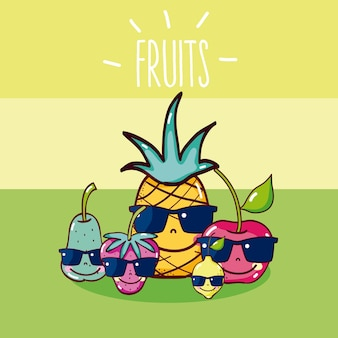 Cute and funny fruits friends