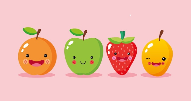 Cute and funny fruits smiling