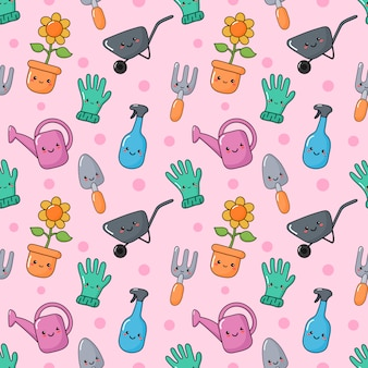 Cute funny garden tools seamless pattern kawaii style