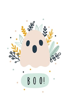 Cute funny ghost halloween greeting card illustration