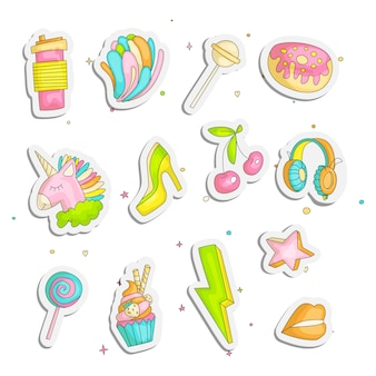 Cute funny girl teenage stickers set, fashion icons