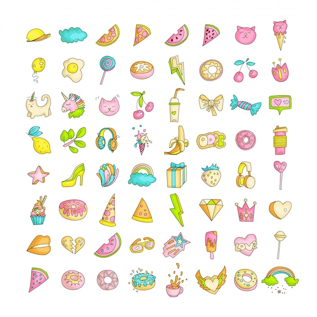 Cute funny girl teenager colored icon set, fashion cute teen and princess icons - pizza, unicorn, cat, lollypop, fruits and other hand draw line teens icon collection. magic fun cute girls objects