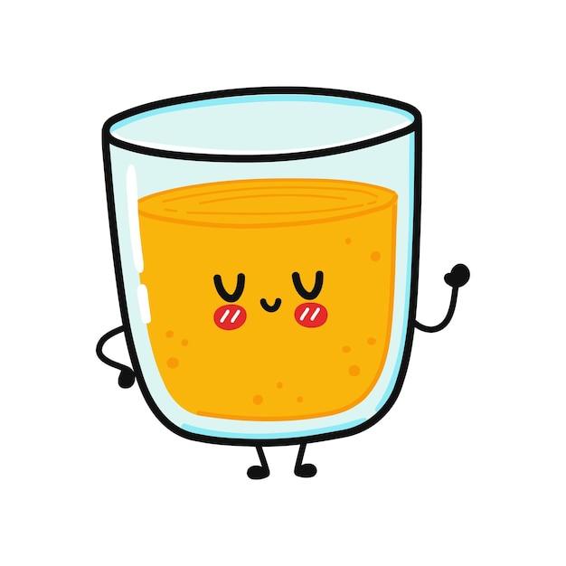 ジュースのキャラクターのかわいい面白いガラス