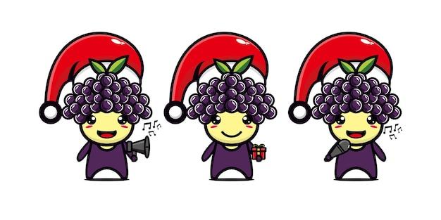 クリスマスを祝うかわいい面白いブドウのキャラクターベクトルフラットラインかわいい漫画のキャラクター