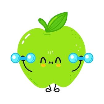Симпатичное смешное зеленое яблоко с гантелями