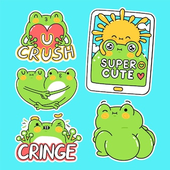 Cute funny green frog stickers set collection. vector hand drawn cartoon kawaii character illustration stickers design set. funny cartoon toad frog mascot character for social media bundle concept