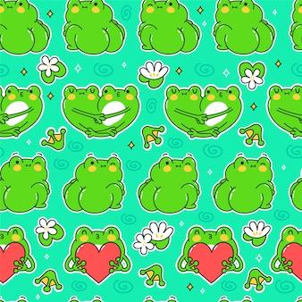 Милые забавные зеленые лягушки бесшовные модели