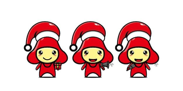 クリスマスを祝うかわいい面白いグアバのキャラクターベクトルフラットラインかわいい漫画のキャラクター