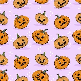 Cute and funny halloween pumpkin seamless pattern.