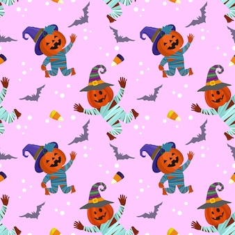 Cute and funny halloween pumpkin with bat seamless pattern.