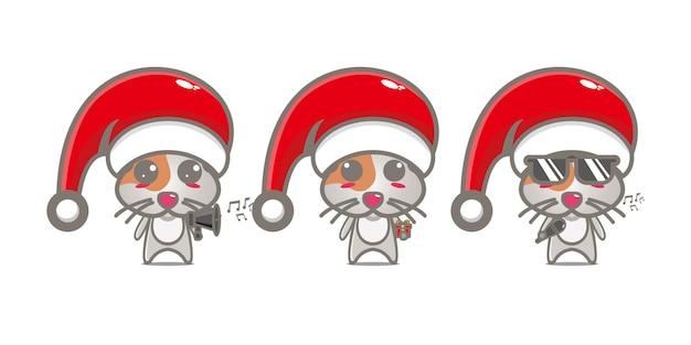 Милый забавный персонаж хомяка празднует рождество вектор плоская линия каваи мультипликационный персонаж