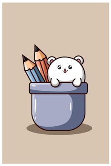 A cute and funny hamster with pencil cartoon illustration