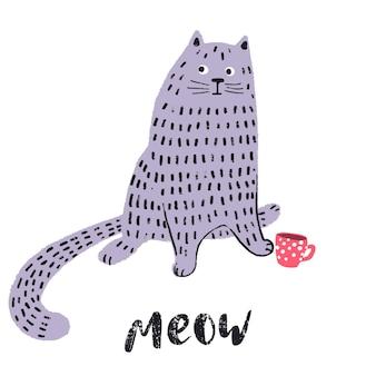 Симпатичный забавный рисованный кот с принтом каракули персонаж кошки милые эмоции домашних животных