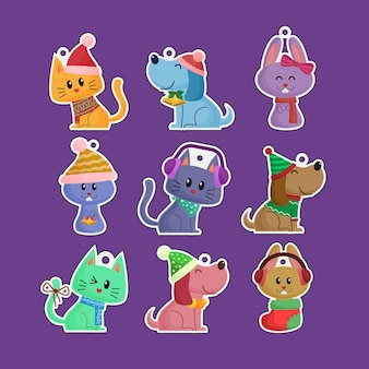 Cute funny hand drawn christmas pets cats and dogs stickers label ornaments collection