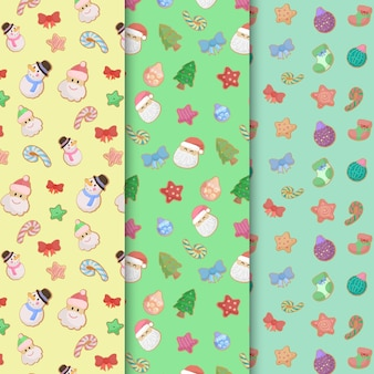 Cute funny hand drawn seamless christmas pattern collection set