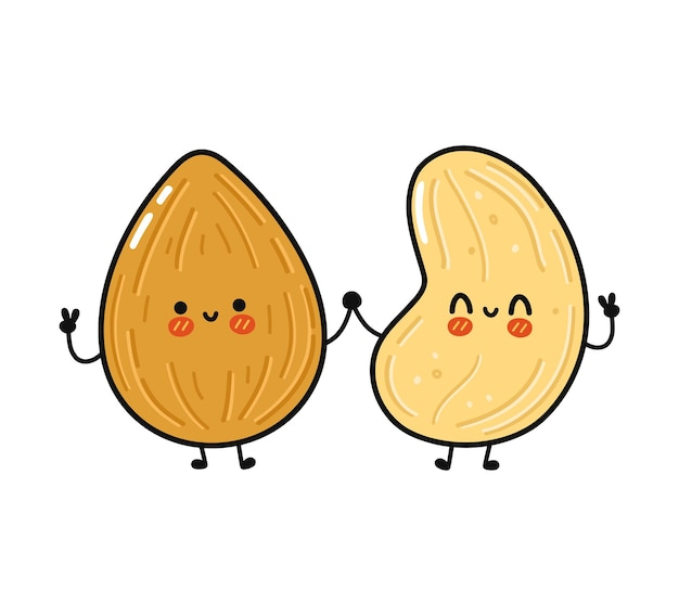 Cute funny happy almond and cashew character