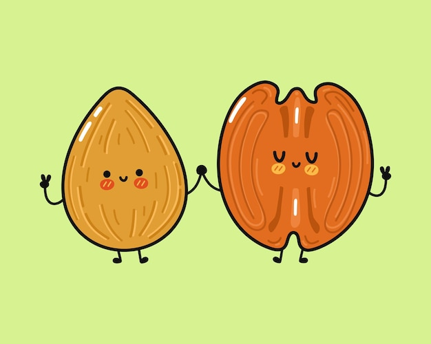 Cute funny happy almond and pecan character