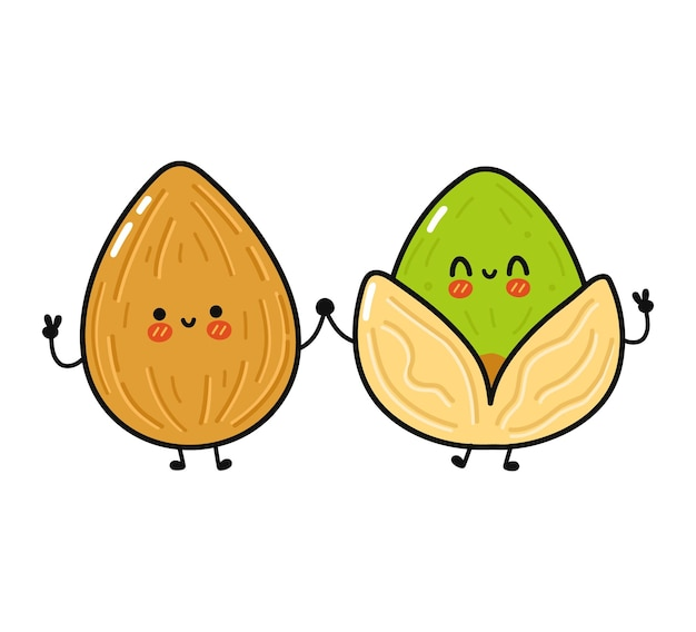 Cute funny happy almond and pistachios character
